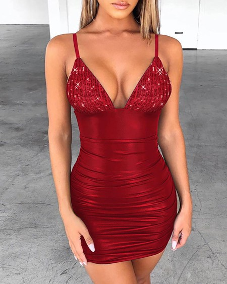 Sequins Spaghetti Strap Ruched Bodycon Dres