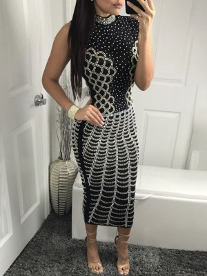 Sexy Polka Dot Print Skinny Midi Bodycon Dress