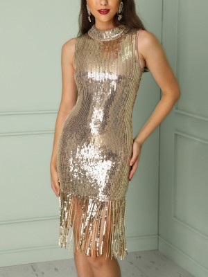 Shiny Sequins Tassel Hem Bodycon Dress