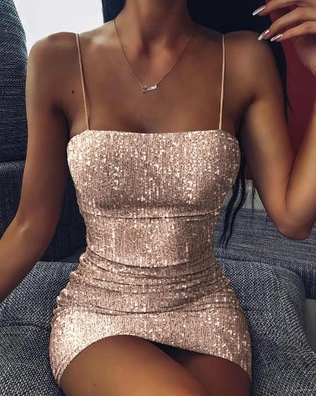Glitter Spaghetti strap Sequins Dress
