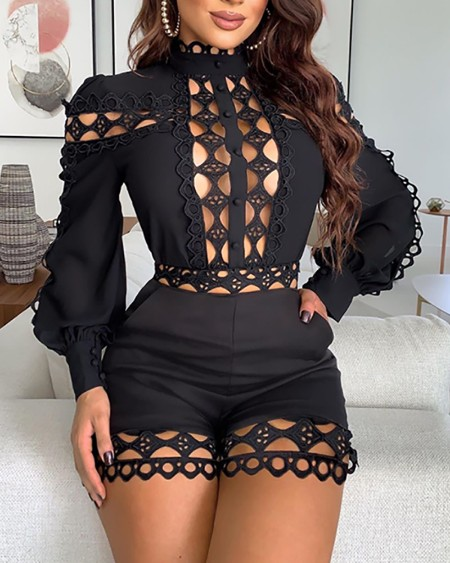Lattice Design Hollow Out Romper