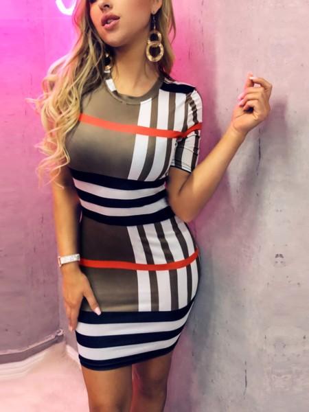 Contrast Striped Mini Shesth Dress