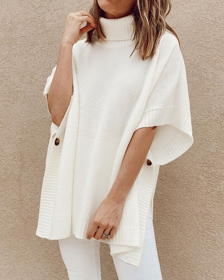 Plain Knit High Neck Cape Sweater