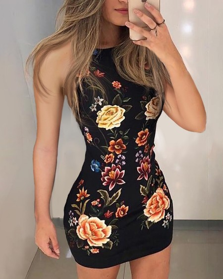 Floral Print Sleeveless Bodycon Dress