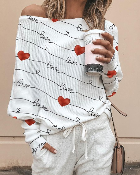 Valentine's Day Heart Letter Print Top
