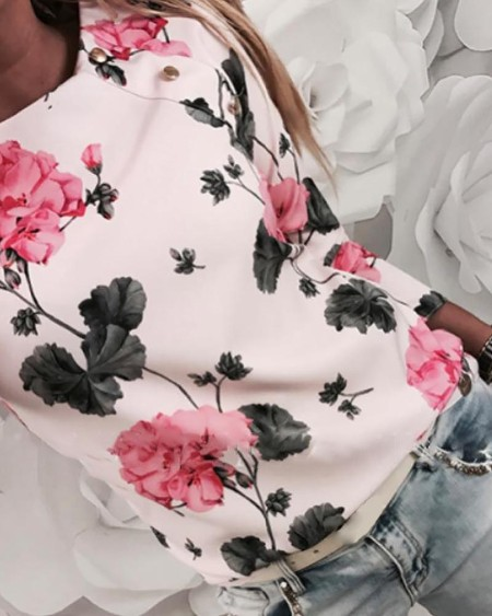 Floral Print Long Sleeve Blouse