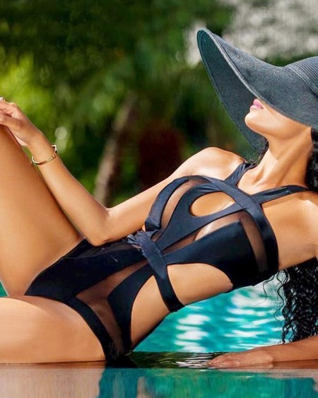 Halter Sheer Mesh Cutout One Piece Swimwear