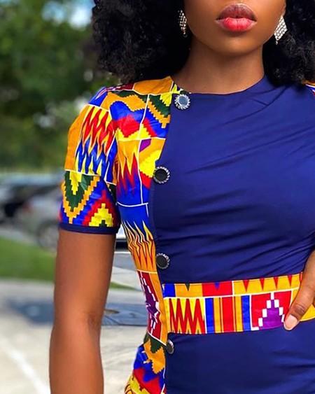 Colorblock Button Decor Ruched T-shirt Dress