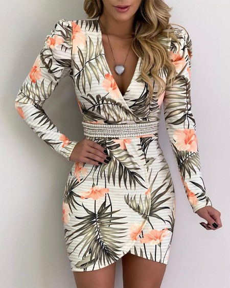 Botanical Print Long Sleeve Irregular Dress