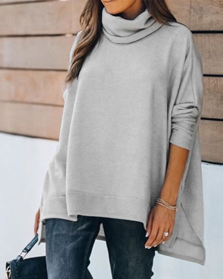 High Neck Long Sleeve Casual Top