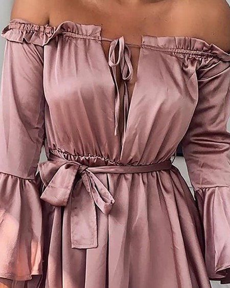 Off Shoulder Frill Trim Pleated Dress