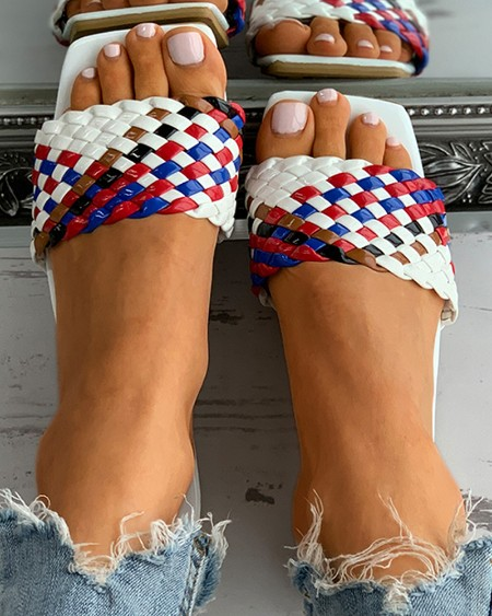 Braided Colorblock Square Toe Flat Sandals