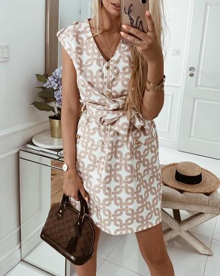 Sleeveless Print Buttoned Detail Casual Dress