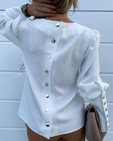 Solid Metal Buttoned Detail Casual Blouse
