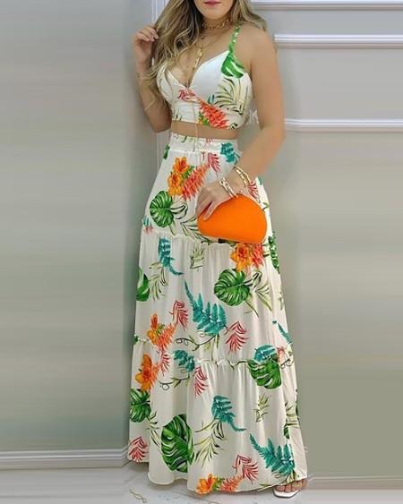 Floral Print V Neck Sleeveless Top & Skirt Set
