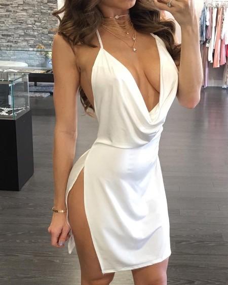 Drape Neck Open Back Side Slit Party Dress