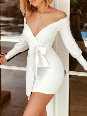Off Shoulder Long Sleeve Tied Waist Dress