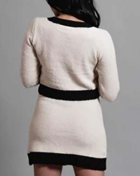 Round Neck Contrast Binding Ribbed Top & Skirt Sets