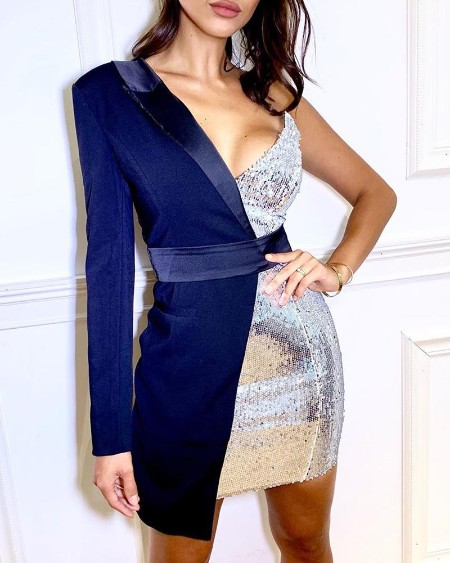 Asymetrical One Shoulder Sequined Dress