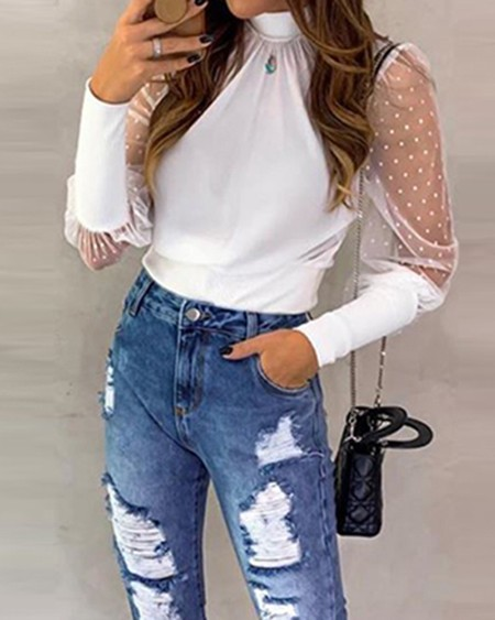 Mesh Long Sleeve Casual Blouse