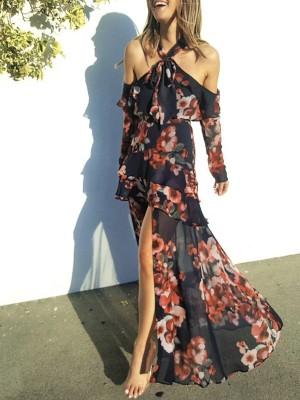 Floral Cold Shoulder Layered High Slit Maxi Dress