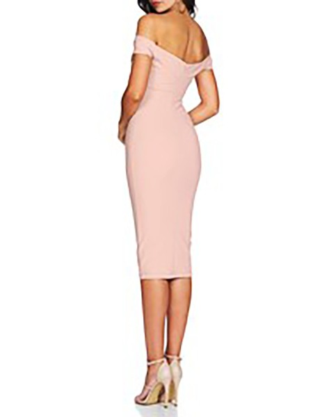 Off Shoulder Twisted Front Bodycon Dress