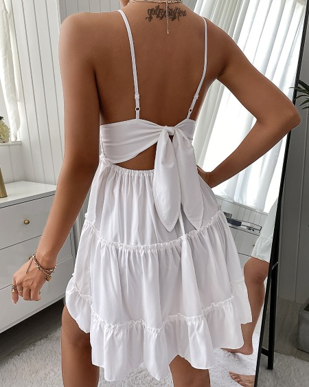 Ruched Knotted Backless Lace Casual Dress