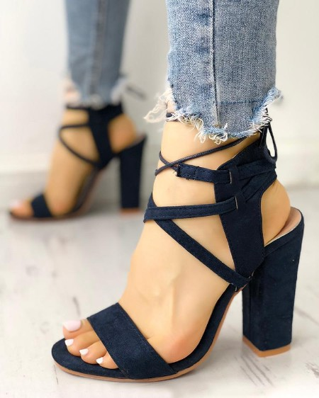 5e952f01a82b Lace Up Open Toe Block Heels Sandals ...