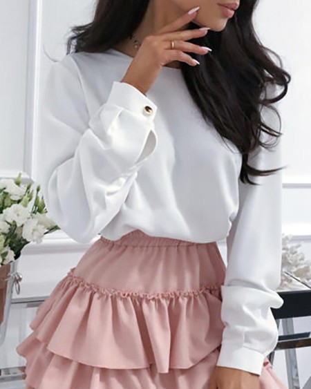 Solid Long Sleeve Backless Casual Blouse