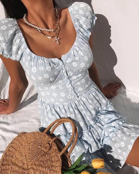 Daisy Print Ruched Frill Hem Dress