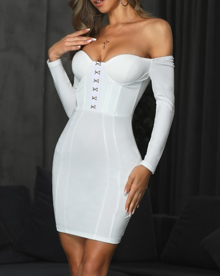 Metallic Hooks Long Sleeve Bodycon Dress