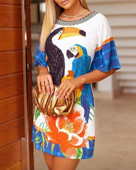 Floral Animal Print Short Sleeve Dress