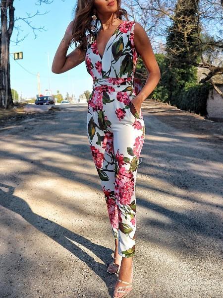Floral Print Deep V Neck Slinky Jumpsuit