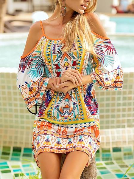 Ethnic Print Cold Shoulder Casual Dress