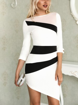 Colorblock Asymetrical Hem Bodycon Mini Dress