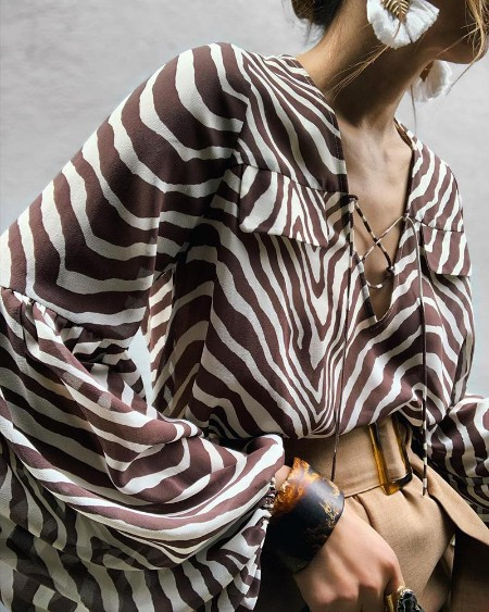 Zebra Print Balloon Sleeve Casual Blouse