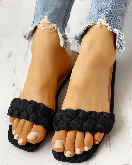 boutiquefeel / Braided Design Open Toe Flat Sandals