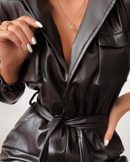 Tie Waist Faux Leather Jumpsuit