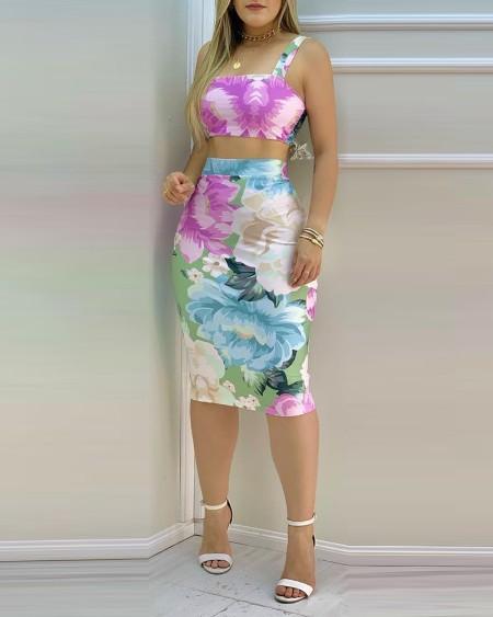Floral Print Crop Top & High Waist Skirt Sets