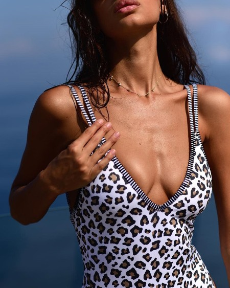 Cheetah Print Plunge Double Strap One Piece Swimsuit