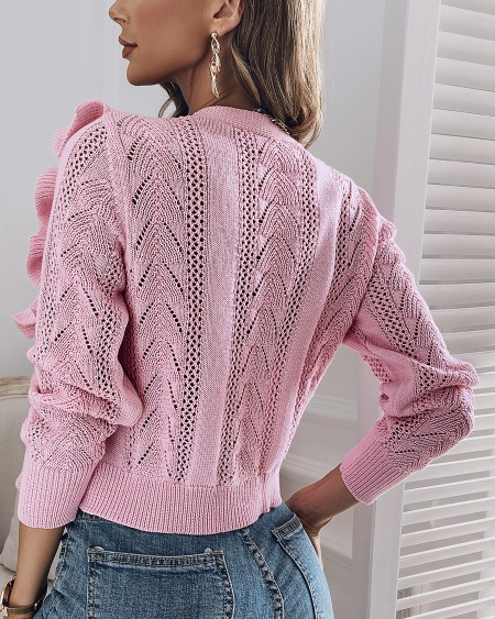 Ruffles Hollow Out Knit Casual Cardigan