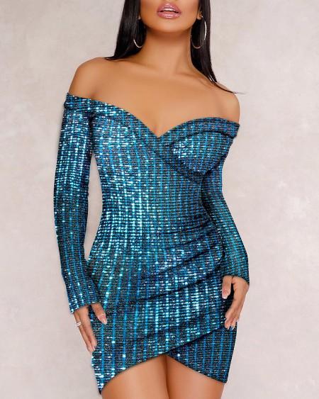 Glitter Off Shoulder Ruched Sequins Bodycon Dress