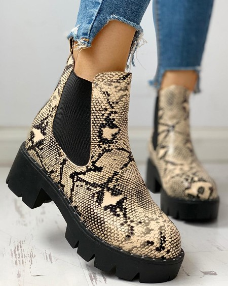 boutiquefeel / Colorblock Snakeskin Chunky Heeled PU Boots