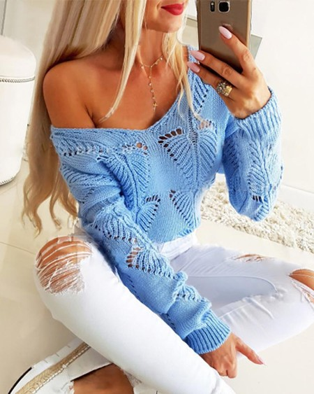 Hollow Out Solid Knitted Casual Sweater