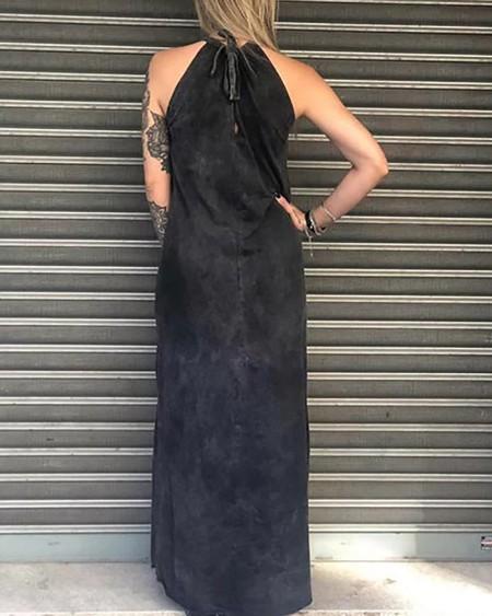 Skull Print Slit Maxi Dress