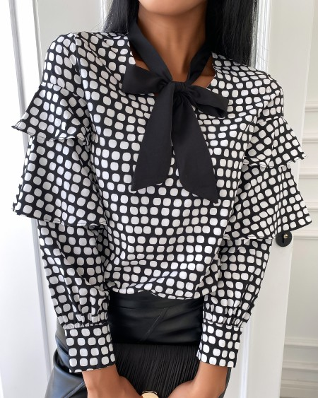 Tie Neck Polkadot Print Long Sleeve Blouse