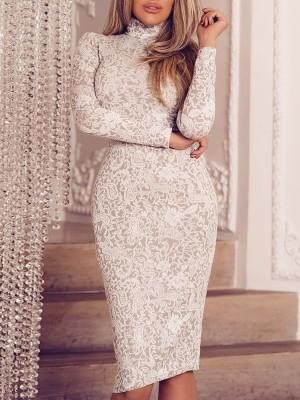 Solid High Neck Lace Bodycon Dress