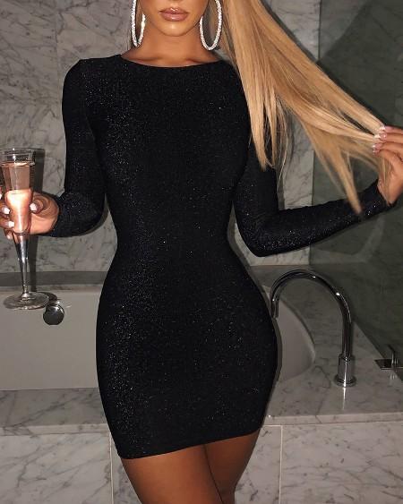 Glitter Long Sleeve Bodycon Dress
