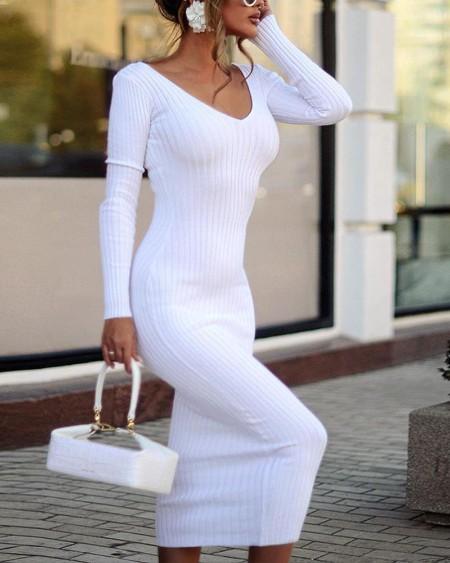 White Knitted Bodycon Midi Dress