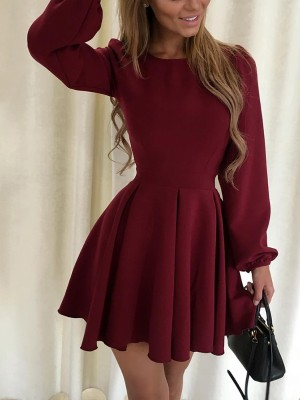 Solid Pleated Lanter Dress Casual Dress